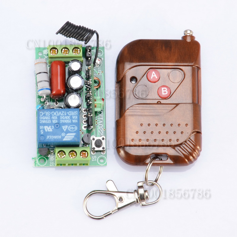 ge 18278 keychain remote transmitter with 1 outlet receiver rf 220V 1CH 10A RF Wireless Remote Switch Receiver&Transmitter For Light Lamp LED SMD ON OFF With Cover Prevent The Pressing