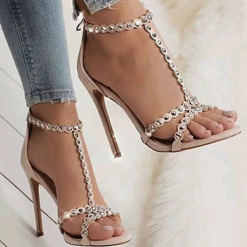52116c3eb54 Sexy Sandals Shoes Woman Gladiator Pumps Open Toe Golden Rivets T-Strap  Shoes Ladies High Heels Summer Party Shoes
