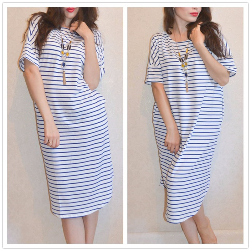 Dotfashion Curve Hem Striped Tee Dress Female Short Sleeve Knee Length  Tunic Dress Blue Round Neck Ladies Shift Dress -in Dresses from Women s  Clothing on ... 68b7c1b0eecf