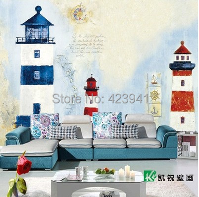 New Wholesale Can Customized Large 3d Wall Mural Large Wallpaper Art Wall Sitting Room Bedroom Decorative Hope Lighthouse Sea