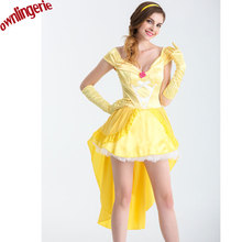 f3f9a0668d6d 2017 hot Movie Beauty and the Beast Princess Belle short Dress Dancing  Party Dress(China