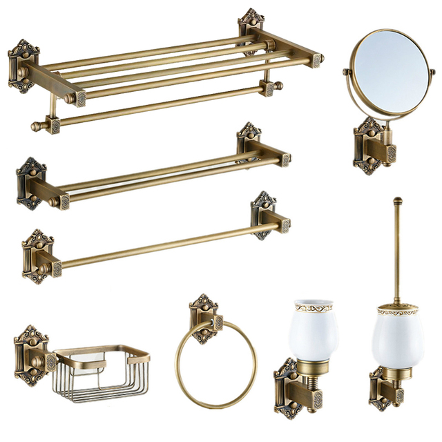 Exceptionnel Vintage Bronze Bathroom Accessories European Brushed Solid Brass Bathroom  Hardware Set Wall Mount Carved Bathroom Products