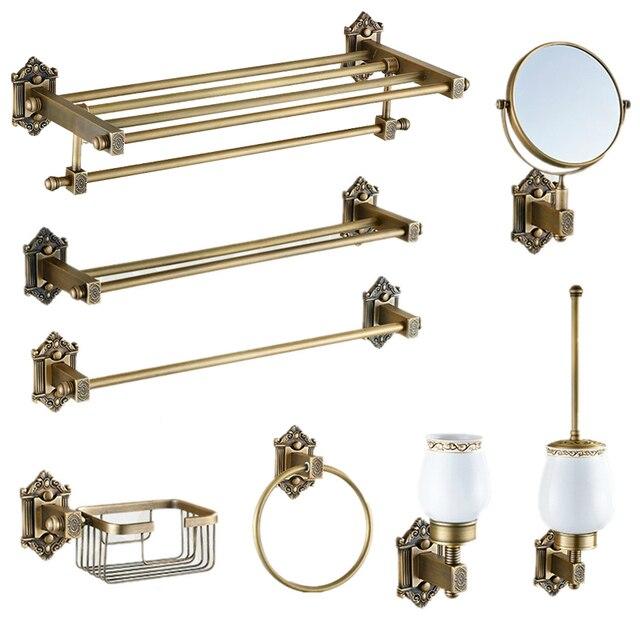 Vintage Bronze Bathroom Accessories European Brushed Solid Brass Bathroom  Hardware Set Wall Mount Carved Bathroom Products