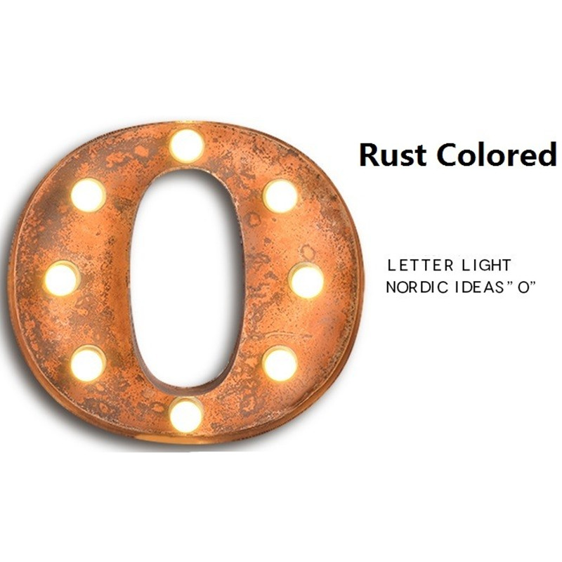 BOCHSBC железные настенные бра буквы O огни американская индивидуальная промышленная настенная лампа для бара кафе рекламный щит старинная буква свет - 3