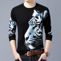 Top Wool Sweater Men 2018 Autumn Fashion Long Sleeve Pullover Men Cashmere Knitted White Tiger 3D Printed Sweater High Quality