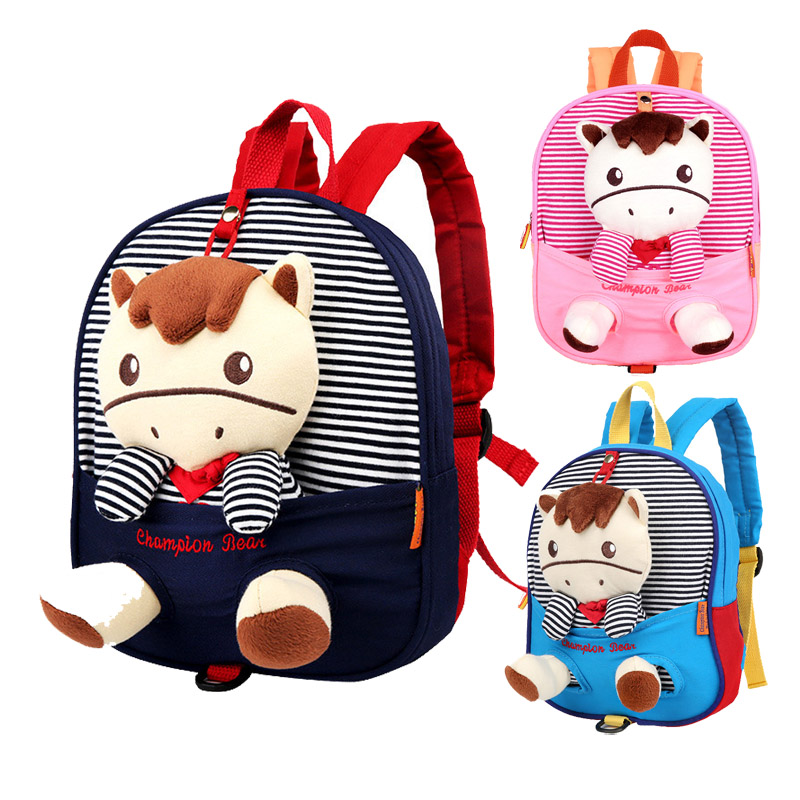 Toddler Kid Anti Lost Backpack Cute Plush Zebra Toy Baby Boys Girls Preschool Bags Kindergarten Children Canvas Cotton Schoolbag 80cm large super cute plush toy dog bulldog husky shiba pug pillow down cotton filling as a gift to the children and friends