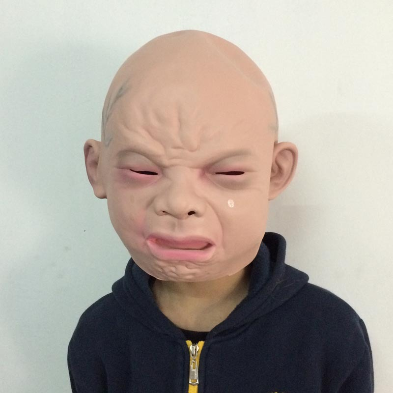 Wholesale High Quality Halloween Latex Crying Mask Baby Happy Crying Costume Mask in Party Masks from Home Garden