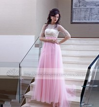 Pink 2017 Evening Dresses With Sleeves Beaded Pearls Vestido De Festa Princess Style Formal Gowns For