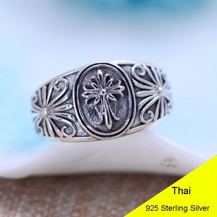 925 Sterling Silver Cross Flower Open Ring Men Retro Thai Silver Jewelry Gift Finger Ring CH053948