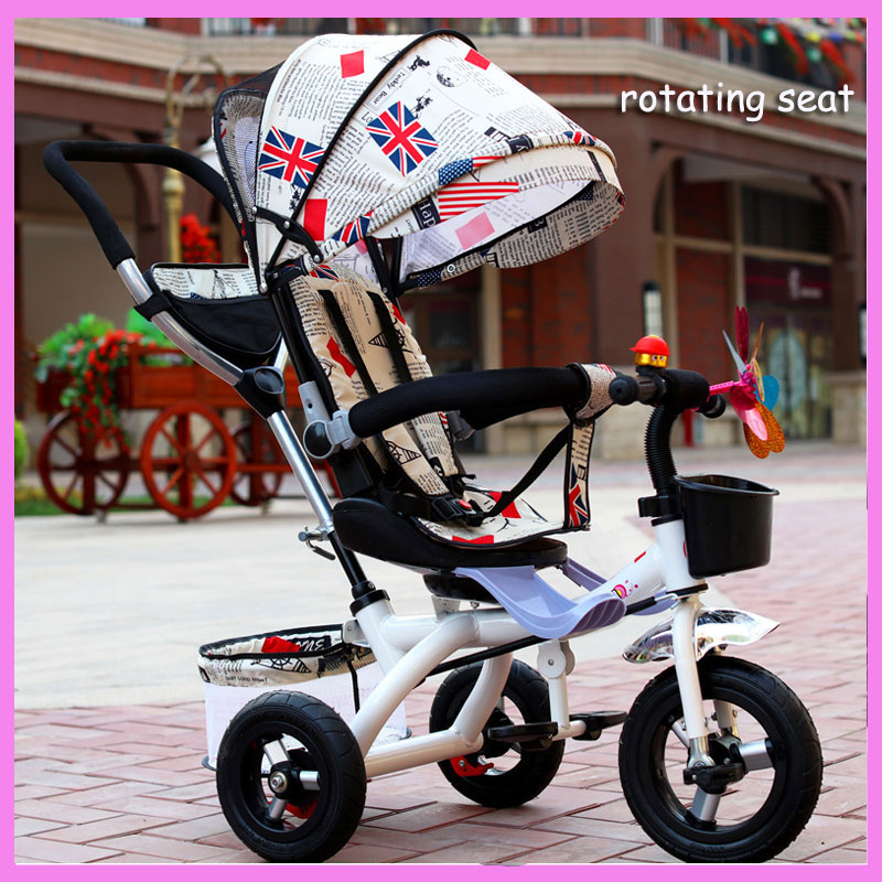 4 In 1 Child Tricycle Bike Folding Three Wheel Rotating Seat Tricycle Stroller Bicycle Baby Cart Detachable Pram Buggy Pushchair baby stroller pram bb rubber wheel inflatable tires child tricycle infant stroller baby bike 1 6 years old bicycle baby car