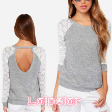 Women Back Hollow Out Lace T-shirt Autumn Raglan Sleeve  Splicing Tops Back Hole Backless O-Neck Long Sleeve Slim Lace T-Thirt lace raglan sleeve keyhole tee