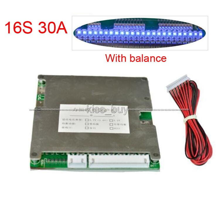 16S 48V LifePO4 Lithium Cell 30A Li ion 18650 Battery Protection BMS PCM Board with Balance