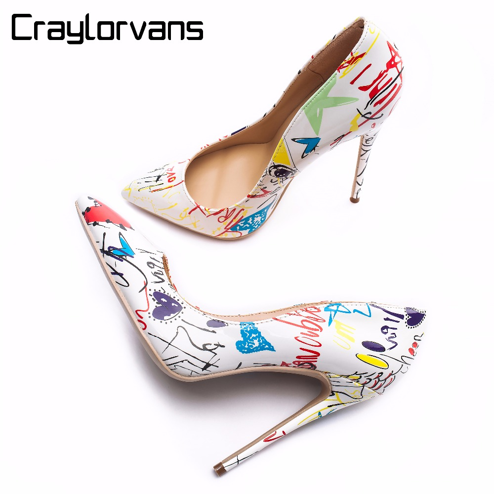 Craylorvans 2018 Specia Graffiti Colorful Women Pumps Sexy Stiletto high heels Spring Wedding Party Women Shoes sapato feminino