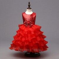 Children S Summer Little Princess Wedding Birthday Kids Clothes Designer Formal Red Pageant Organza Toddler Girls