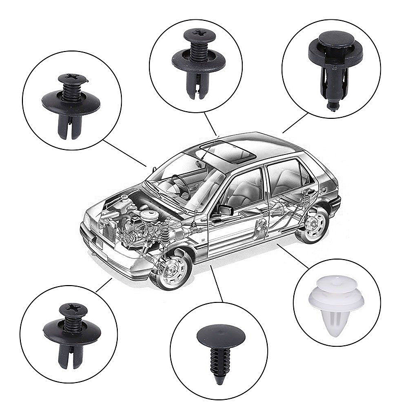 6Size 100pc Clip Trim Car Push Pin Rivet Bumper Door Panel Retainer Fastener Kit