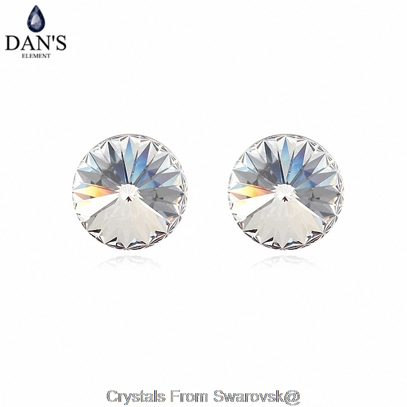 DANS 7 Colors Real Austrian crystals Stud earrings for women Earrings s New Sale Hot Round 96549Crystal