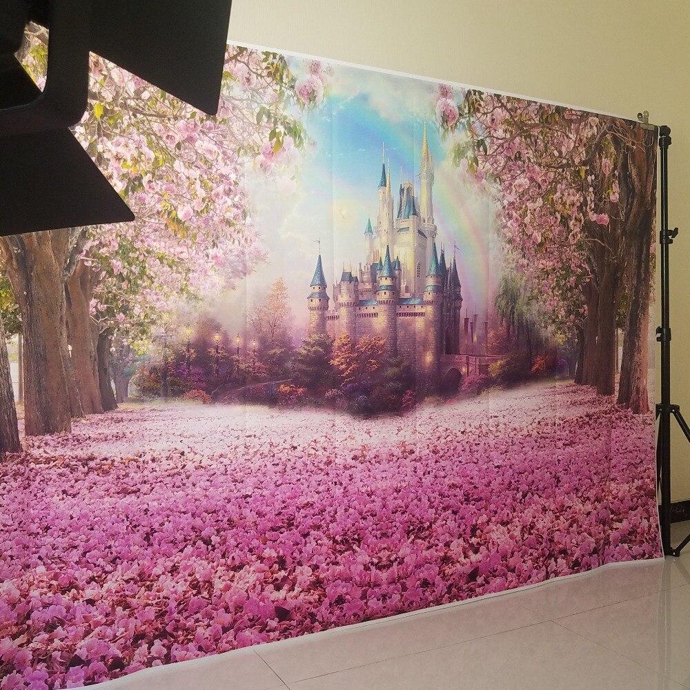 Bunga Sakura Kastil Birthday Fotografi Latar Belakang Latar Belakang Foto Pesta Hiasan Dinding Latar Belakang W
