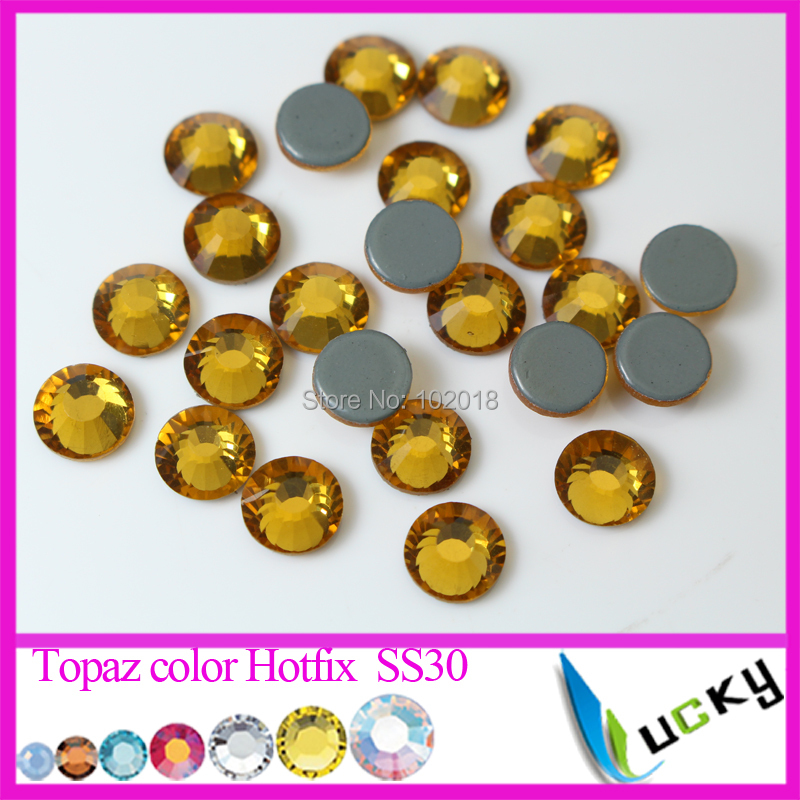 top quality machine cut dmc hotfix rhinestones 288pcs ss30 topaz color glue on crystal strass copy swarov 2038 glass stones - Color Copy Machine