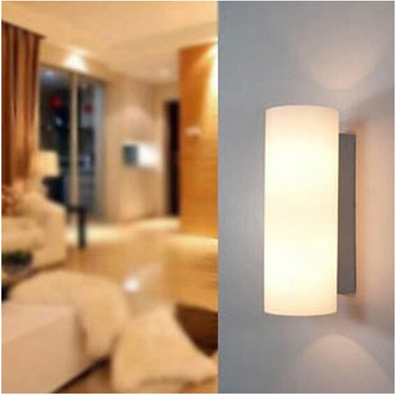 ФОТО 2/lot Modern Fashion milk white wall lamp e27 bulb LED aisle stair corridor bedside decorative lamp DY-1295