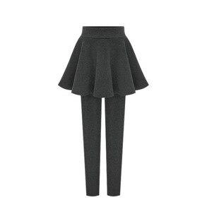 Image 5 - NORMOV kadın kış kalın sıcak tayt yüksek bel elastik katı ince dış giyim pantolon etek M 6XL artı boyutu tayt