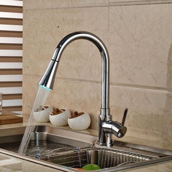 Chrome Brass LED Kitchen Faucet Vessel Sink Mixer Tap Single Handle Hole Mixer Tap стоимость