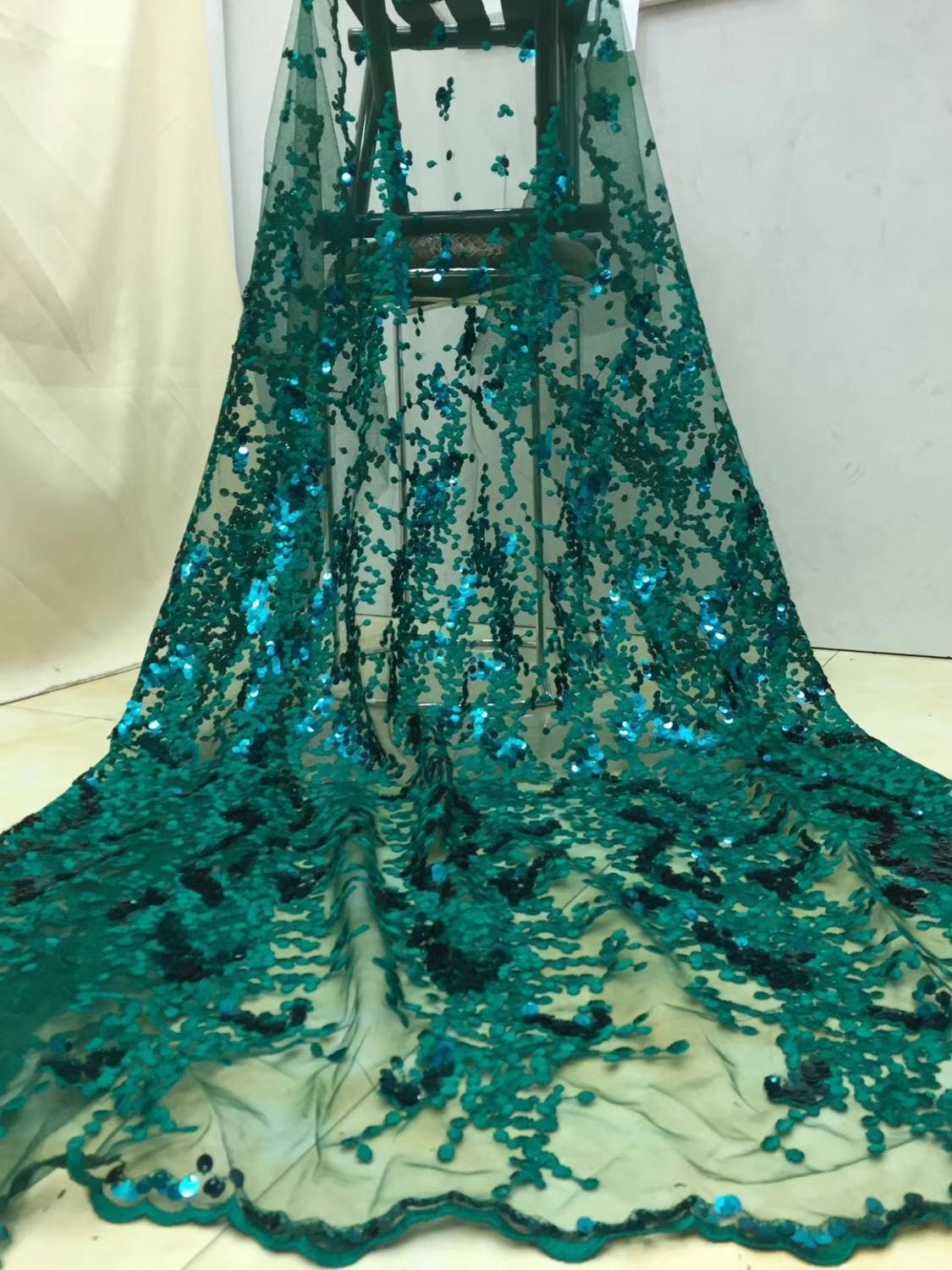 Tissu De La Reunion us $45.95 50% off|dark green french african lace fabric guipure sequined  cotton cord tulle nigerian tissu mesh india lace for wedding dress x7-in  lace
