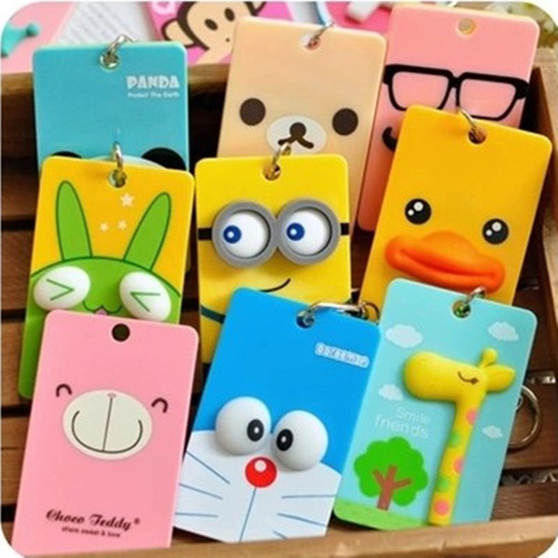 PVC Card Holder Credit Card Bus Card Case Hot Sale Cute Cartoon Panda DT Wuck Monster Design Key Holder Ring Bag Accessories KT5