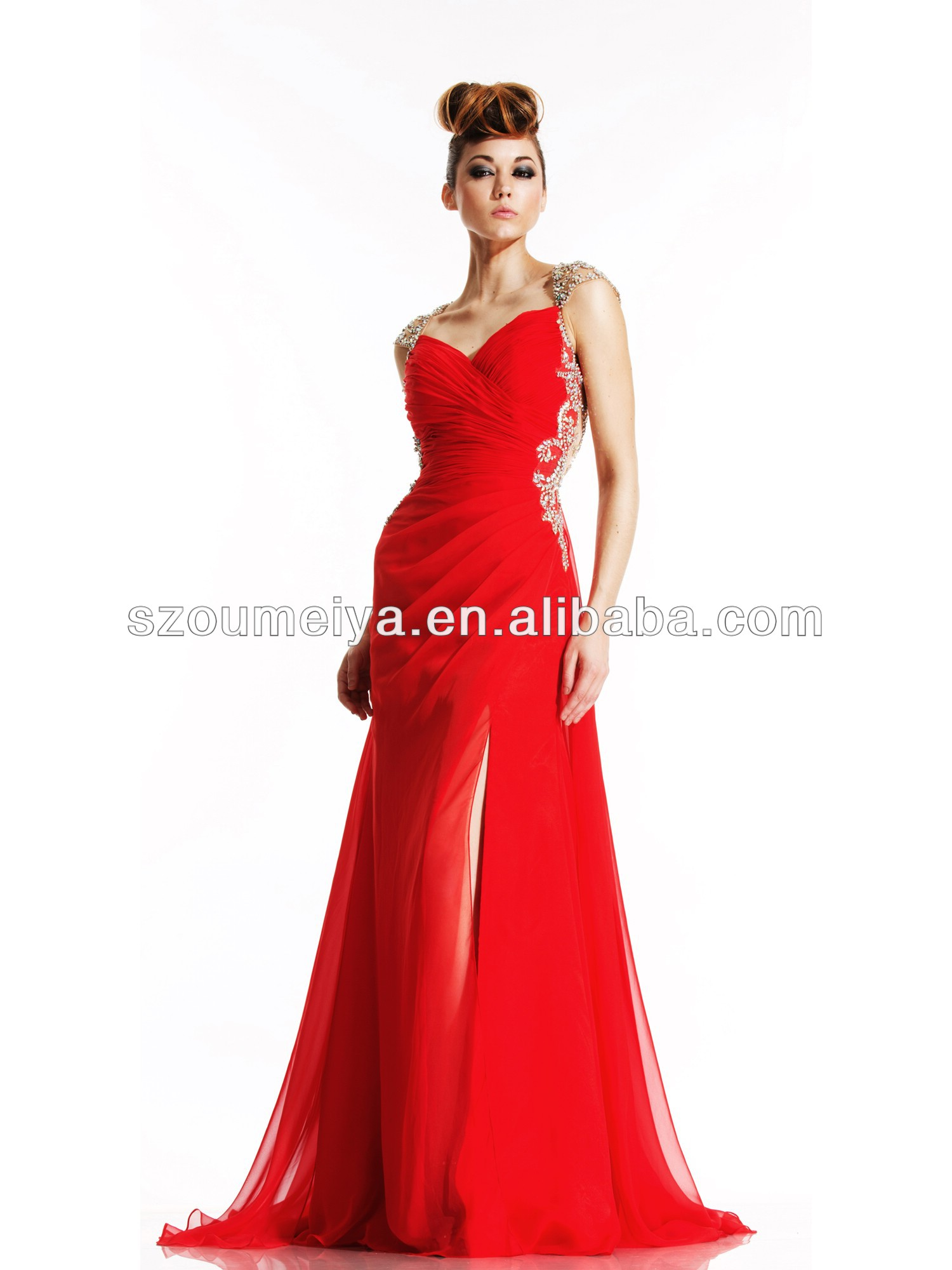Aliexpress.com : Buy OUMEIYA OEP793 Flowy Chiffon 2014 Sexy Side ...