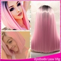 Free Shipping Synthetic Lace Front Wig Ombre black1B#/Pink Front Lace Wigs Women long Silky Straight Hair Cosplay bob Wig Peruca