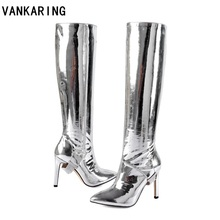 autumn winter boots metal patent leather knee high boots sexy high heels  dress dance shoes woman 7c95c4d77f12