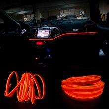 цена на JURUS 3Meter Interior Lighting Tube Line Flexible Rope Neon Car Light Glow El Wire Salon Flat Strip Decoration With 12V Inverter