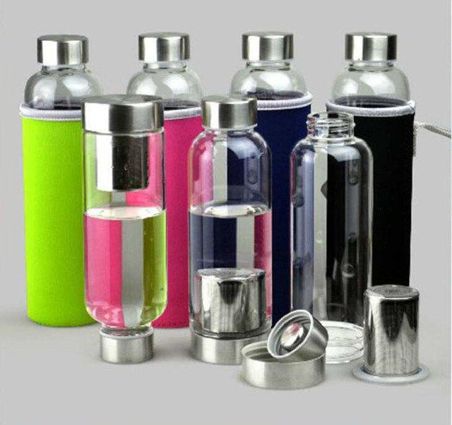 e30fbaacf 420ML Sports Drink Bottle Portable Water Bottle Glass Cup Real Borosilicate  Glass Bottle filter Tea Infuser