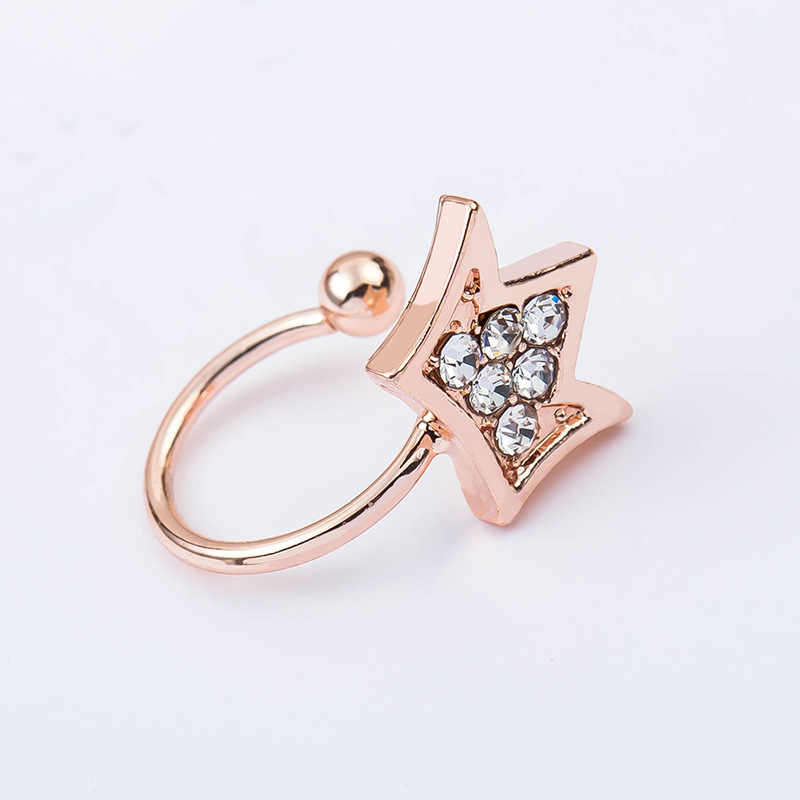 Mossovy เปิด Crown Zircon ต่างหูคลิปสำหรับหญิงแฟชั่นยอดนิยม Rhinestone Star ต่างหูสำหรับเครื่องประดับสตรี