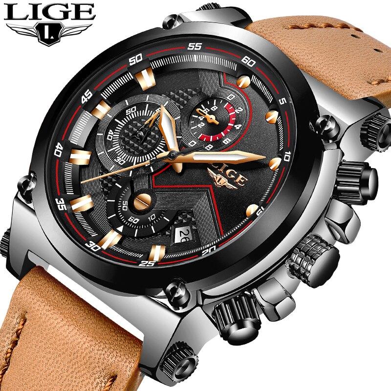 LIGE 2018 Neue Männer Fashion Casual Chronograph Männer Business Sport Uhren Männer Wasserdichte Leder Quarz Uhren Relogio Masculino