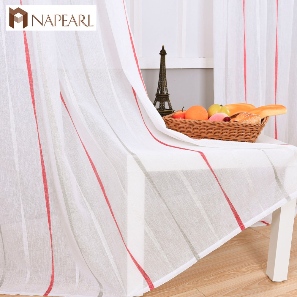 Semi Sheer Curtains For Kitchen Curtain Linen Textured: Striped Modern Semi Sheer Curtain Faux Linen Fabrics Ready