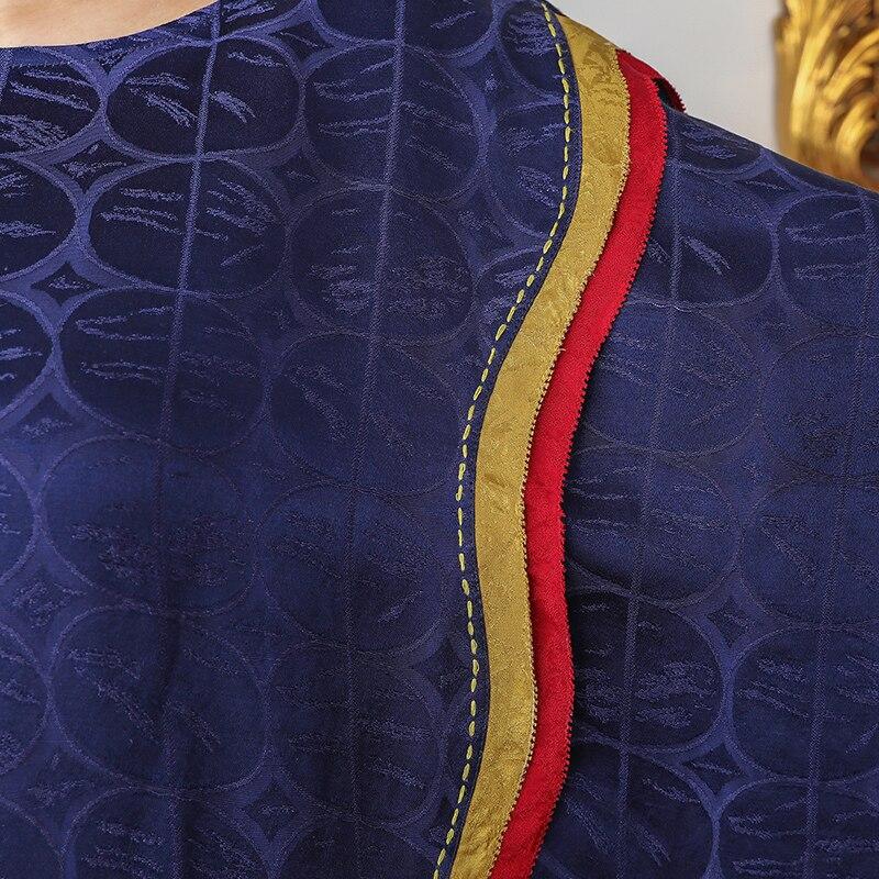 Robe Grande Maxi Bleu A653 5xl Décontracté Voa Marine Taille D'été Oversize De Lâche Pour Robes Jacquard Confort Lourde Longues Soie Femmes wPf0PI