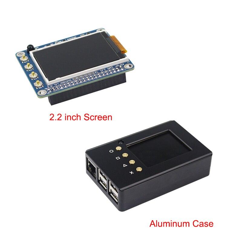 Haute Qualité 2.2 pouce Framboise Pi 3 TFT Écran LCD Display + Boîtier En Aluminium Box Boîtier compatible pour Raspberry Pi 2