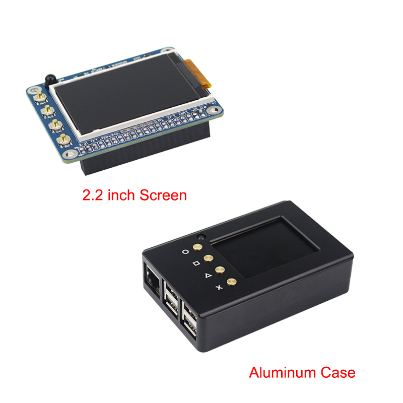 High Quality 2.2 inch Raspberry Pi 3 TFT Screen LCD Display + Aluminum Case Enclosure Box compatible for Raspberry Pi 2 3 5 inch touch screen tft lcd 320 480 designed for raspberry pi rpi 2