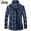2016 A nova camisa dos homens elegantes e confortáveis dos homens AFS JEEP camisa xadrez Fino camisa confortável 3 cores M-5XL 88