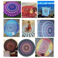 New Indian Mandala Round Roundie Beach Throw Tapestry Hippy Boho Gypsy Polyester Tablecloth Beach Towel Round Mat 781