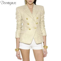 2019 Stylish Designer Blazer for Women Double Breasted Lion Buttons Gold Painting Blazer Jacket Plus Size S 3XL