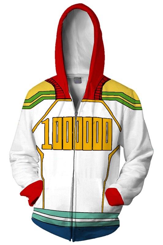 My Hero Academia Hoodie Cosplay Million Hoodie Zipper Up Hooded Adult Men Casual Sweatshirt Cool Hoodies Jacket
