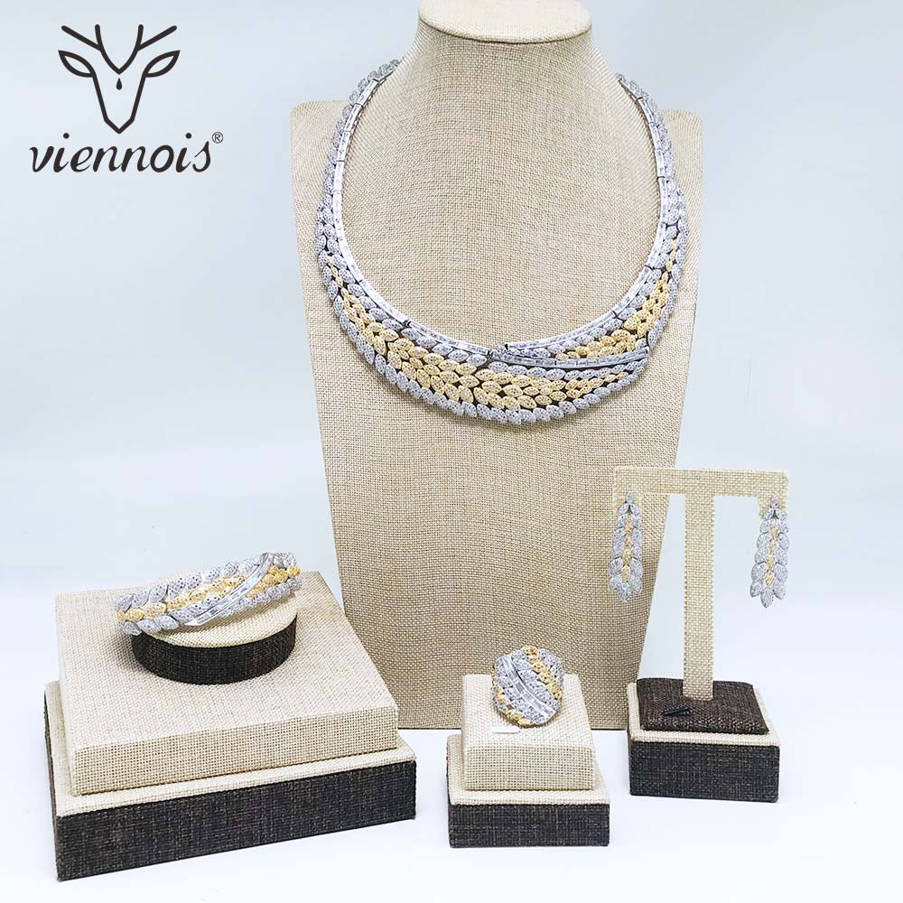 Viennois Silver & Gold Color Necklace Set For Women Cubic Zirconia Dangle Earrings Ring Bracelet Set Party Wedding Jewelry Set