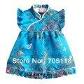 Vestido infantil nacimientos vestido de seda Jacquard vestido chino cheongsam Boutique para el bebé 4Month-3 años 12 opitions envío gratis QZ-7