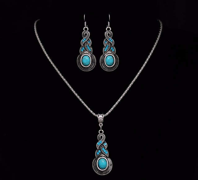 Crazy Feng Fashion Jewelry Hot Sale Ethnic Blue Stone Jewelry Sets Tibetan Silver Necklace 1