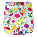 New Design  All in one size  Printed Cartoon Cloth Diapers With one microfiber Inserts Baby Washable Nappy Diaper  H-Series