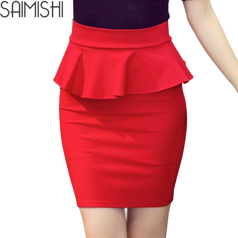 New Autumn Women Skirt Multi Color OL Lotus Leaf Slim Fit Stretch High Waist Pack Hip Women Pencil Skirts Plus Size S-5XL
