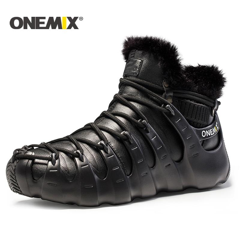 Onemix мужские зимние сапоги кроссовки для женщин Открытый треккинговой обуви кроссовки прогулочная обувь на осень-зиму теплая обувь