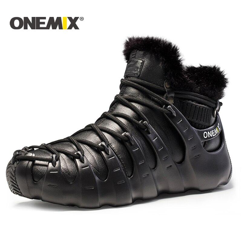 Onemix hiver hommes bottes chaussures pour femmes outdoor chaussures de course sneakers chaussures de marche automne hiver garder au chaud chaussures