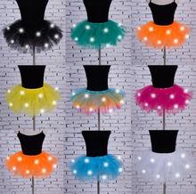 مثير بنات مصباح إضاءة ليد توتو المرحلة الرقص توتو قصيرة تنورة صغيرة ملابس الرقص مساء